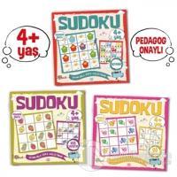 Çocuklar İçin Sudoku Seti (4+ Yaş) (3 Kitap Takım) Kolektif