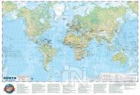 Dünya Siyasi - Fiziki Haritası 50x70 (Çift Taraflı)