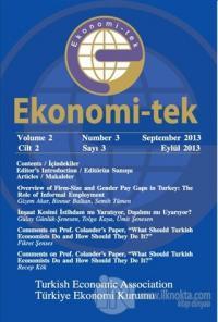 Ekonomi-tek Volume / Cilt: 2 No: 3 September / Eylül 2013