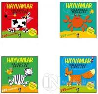 Hayvanlar Eğlenceli Şekiller 4 Kitaplık Set