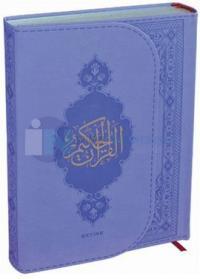 Kur'an-ı Kerim (Orta Boy) Lila Termo Deri Miklaplı Mıknatıslı Bilgisayar Hatlı