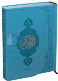 Kur'an-ı Kerim (Orta Boy) Turkuaz Termo Deri Miklaplı Mıknatıslı Bilgi