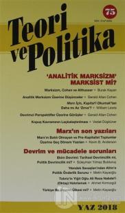 Teori ve Politika Dergisi Sayı: 75 Yaz 2018