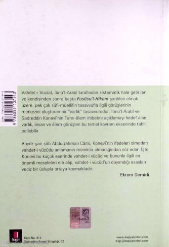 Sadreddin Konevi Kitaplığı-Vahdet'İ Vücud Ve Esasları Sadreddin Konevi