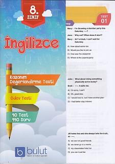 Bulut Eğitim 8. Sınıf İngilizce Kazanım Değerlendirme ve Ödev Testleri
