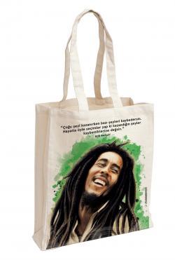 Bob Marley Baskılı Özel Bez Çanta 38x35 cm