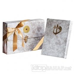Çantalı - Orta Boy Nubuk Kur'an-ı Kerim (Krem, Vavlı, Mühürlü)