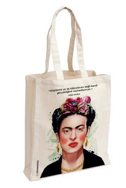 Frida Kahlo Baskılı Özel Bez Çanta 38x35 cm