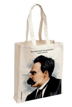 Friedrich Nietzsche Baskılı Özel Bez Çanta 38x35 cm