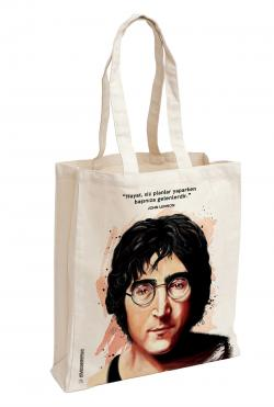 John Lennon Baskılı Özel Bez Çanta 38x35 cm