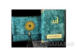 Nubuk Kumaş Kaplı ve Çantalı Yasin Kitabı Seti - Mint
