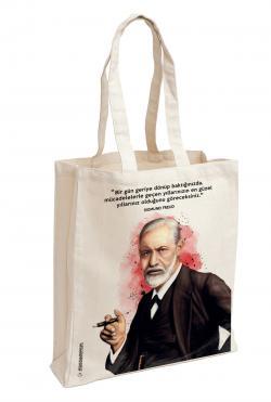 Sigmund Freud Baskılı Özel Bez Çanta 38x35 cm