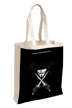 V for Vendetta Baskılı Özel Bez Çanta 38x35 cm