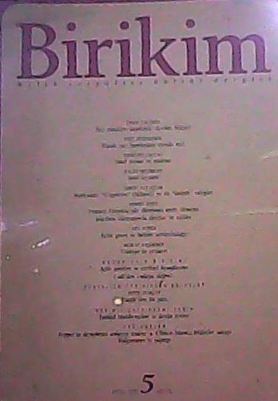 BİRİKİM 5 EYLÜL 1989 -   Yeni ve İkinci El Ucuz Kitabın Adresi