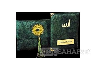 Nubuk Kumaş Kaplı ve Çantalı Yasin Kitabı Seti - K. Yeşil - Mehmet Gün