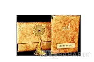 Nubuk Kumaş Kaplı ve Çantalı Yasin Kitabı Seti - Sarı - Mehmet Gündoğa