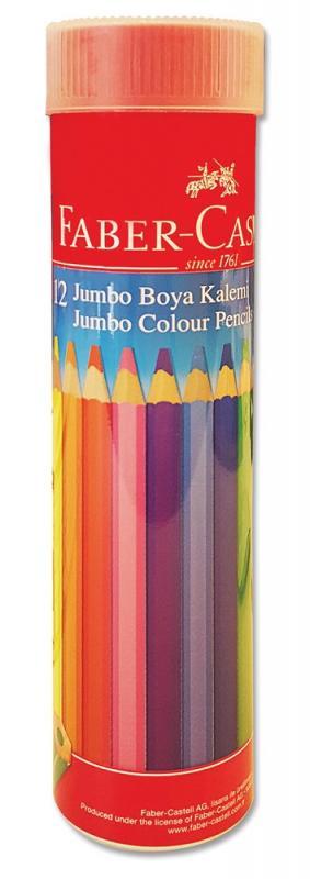 Faber-Castell Boya Kalemi 12 Renk Jumbo Tam Boy Tüp Üçgen - | Yeni ve