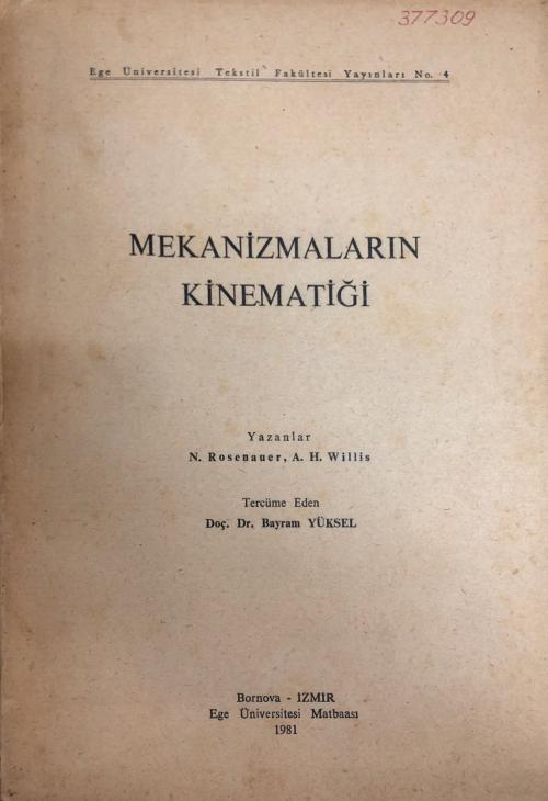 Mekanizmaların Kinematiği - A.H.Willis | Yeni ve İkinci El Ucuz Kitabı