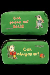 Tonguç Çift Gözlü Kalem Çantası (Yeşil) - Tonguç Komisyon   Yeni ve İk