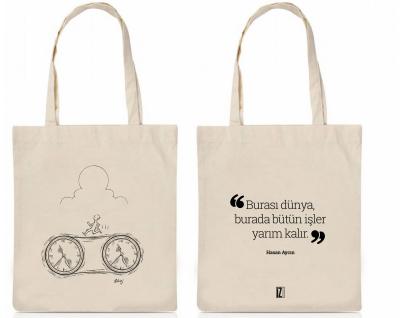 Zamana Karşı Koşan Adam Tasarımlı Bez Çanta -