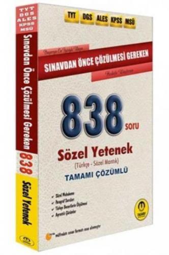 Tasarı Sınavdan Önce Çözülmesi Gereken Tamamı Çözümlü Sözel 838 Soru-YENİ