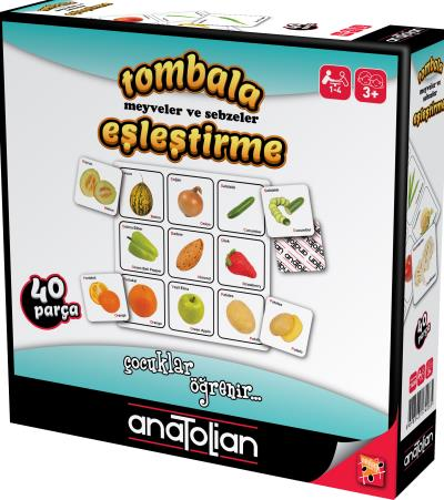 Tombala Meyveler ve Sebzeler Eşleştirme 40 Parça +3 Yaş