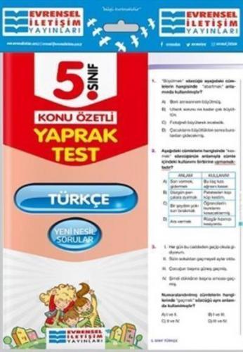 5. Sınıf Türkçe Konu Özetli Yaprak Test Kolektif
