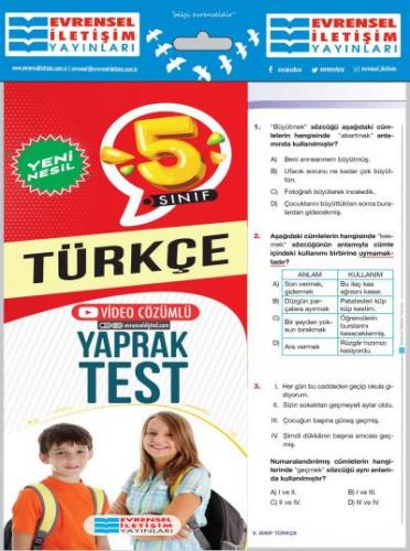 Evrensel 5. Sınıf Türkçe Yeni Nesil Yaprak Test-YENİ Evrensel Iletişim
