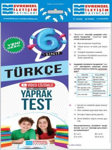 Evrensel 6. Sınıf Türkçe Yeni Nesil Yaprak Test-YENİ Evrensel Iletişim