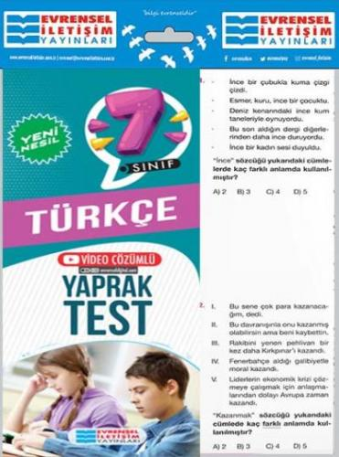 Evrensel 7. Sınıf Türkçe Yeni Nesil Yaprak Test-YENİ Evrensel Iletişim