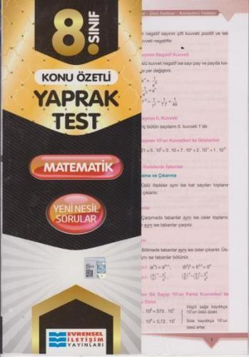 Evrensel 8. Sınıf Matematik Konu Özetli Yaprak Test 2020-YENİ Evrensel