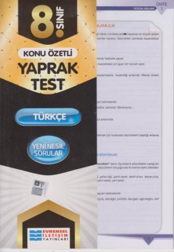 Evrensel 8. Sınıf Türkçe Konu Özetli Yaprak Test 2020-YENİ Evrensel Il