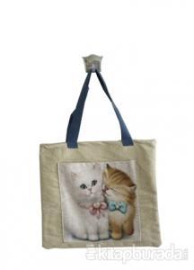 Bej İkili Kedi Cepli Bez Çanta Kod - 220145