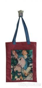 Kırmızı Mavi Saçlı Kız Cepli Bez Çanta Kod - 220163