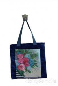 Mavili Mavi Pembe Çiçek Cepli Bez Çanta Kod - 220147