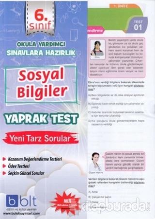 6. Sınıf Sosyal Bilgiler Yaprak Test