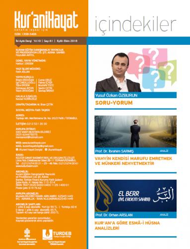 Kur'ani Hayat Dergisi/Ma'rûf-Münker/Eylül-Ekim 2018 61.Sayı ve Çocuk E