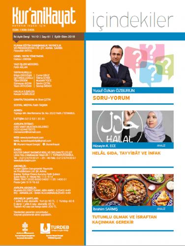 Kur'ani Hayat Dergisi/İsraf ve İktisat/Kasım-Aralık 2018 62.Sayı ve Ço