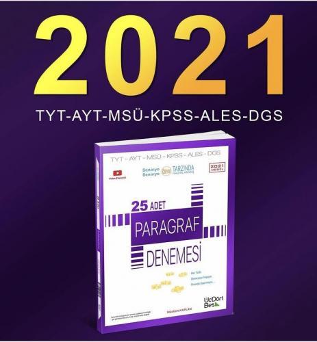 ÜçDörtBeş Yayınları 2021 Model Paragraf 25 Adet Denemesi