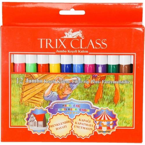 Trix 12 Renk Jumbo Keçeli Kalem - 12'li Jumbo Büyük Keçeli Kalem