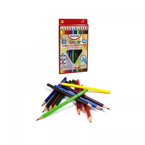 Fatih 12 Renk Üçgen Jumbo Kuruboya 33490