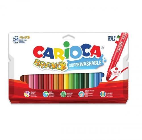 Carioca Bravo Süper Yıkanabilir Kalın Uçlu Keçeli Boya Kalemi 24Lü