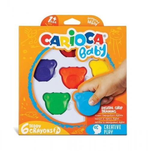 Carioca Teddy Şekilli Elleri Kirletmeyen Mum Boyalar 6lı