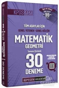 Pegem 2020 KPSS Matematik-Geometri 30 Deneme Çözümlü Pegem Akademi Yayınları