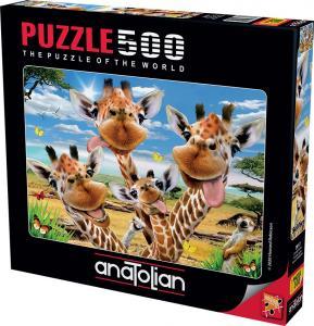 Anatolian Zürafa Selfisi Giraffe Selfie 500 Parça Puzzle - Yapboz