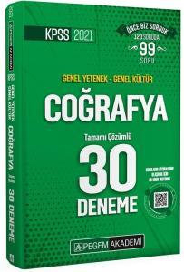 Pegem 2021 KPSS Coğrafya 30 Deneme Çözümlü Pegem Akademi Yayınları