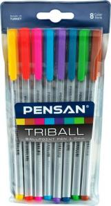 Pensan Tükenmez Kalem Triball 1.0 MM Bilye Uç 8 Lİ Renkli