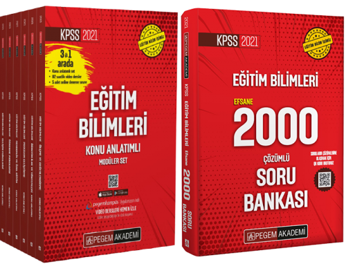 Pegem 2021 KPSS Eğitim Bilimleri Konu Anlatımlı Set + Efsane 2000 Soru Bankası Pegem Akademi Yayınları