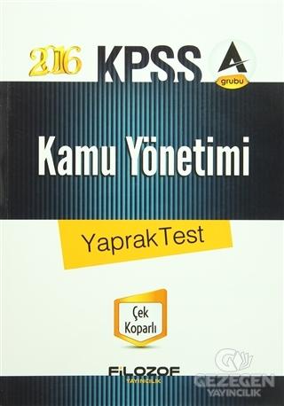 2016 KPSS Kamu Yönetimi Yaprak Test