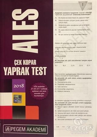 2018 Ales Çek Kopar Yaprak Test | Pegem Akademi Yayıncılık - Sınav Kitapları